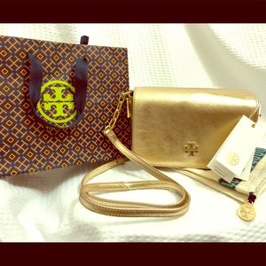 NWT Tory Burch Caitlin Mini Gold Leather Crossbody